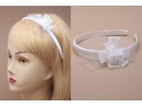 White Ribbon Aliceband with Ribbon and Rosebud motif - JTY449
