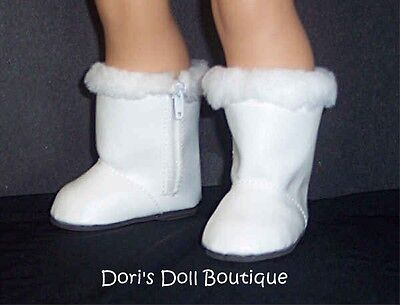 Doll Clothes fits American Girl * WHITE BOOTS / SHOES W/ FAUX FUR TRIM *  on Rummage