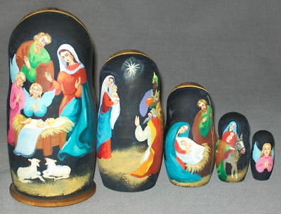 VERY NICE HAND PAINTED 5 PIECE NATIVITY SET - ANGELS, MAGI, MANGER #7342