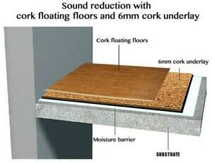 1/2 Cork Underlayment Reducing Noise and Sound Transfer, Raise the Temperature in Your Home. Highest Acoustic Ratings
