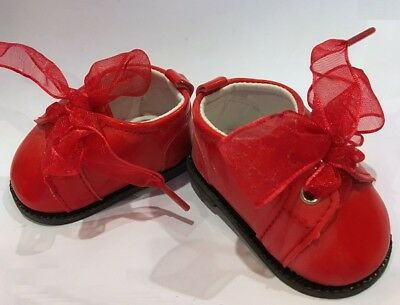 "Red Patent Ribbon Laced Oxfords for 18"" American Girl or Baby Doll Shoes Clothes"