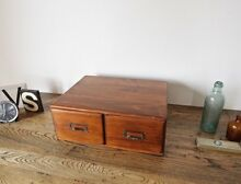 Antique Vintage Timber 2 Drawer Library Card File Cabinet Hurlstone Park Canterbury Area Preview