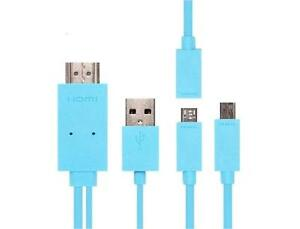 MHL to HDMI Kit - 5 pin or 11 pin MHL Micro USB to HDMI HDTV Cable Adapter - Blue