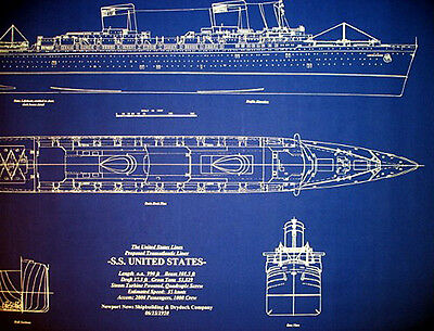 United States Line SS United States 1950 Blueprint Plan 24