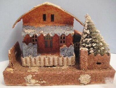 Old CardboardCandy Container Christmas House - Putz Village w/ Bottle Brush Tree