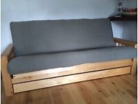 Solid birch 3 seater Vienna futon sofa bed by futon company, no drawer, very good condition