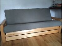 Solid birch 3 seater Vienna futon sofa bed by futon company, with drawer, very good condition