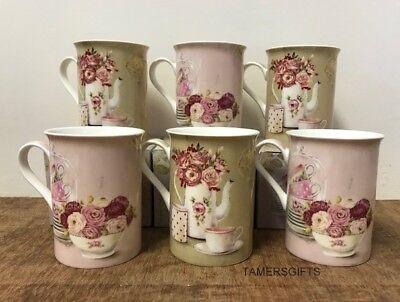 6x VINTAGE ROSE STYLE FLORAL PALE PINK BEIGE KHAKI MUGS KITCHEN TEA...