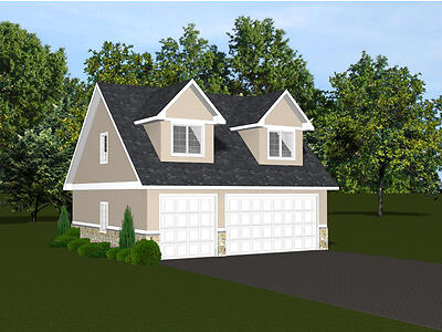 2-car garage plans 30x28 w/ Loft contemplate 866 sf #1395