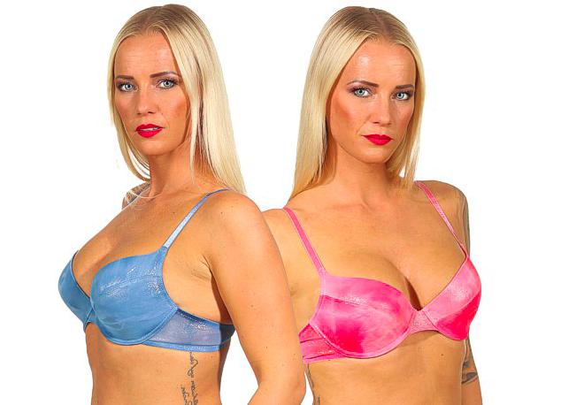 sexy Push up BHs Formbügel BH Batik Optik in glänzendem pink und blau