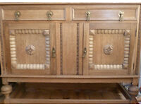 4ft Vintage Light OAK Sideboard Professionally Stripped Solid Brass Handles 2 Drawers 2 Cupboards