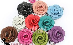 New-Design-Cute-Camellia-Rose-Faux-Leather-10-Colors-Coin-Bag-Purse-Free-S-H