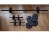 EverLast Vinyl Barbell Dumbbell Set