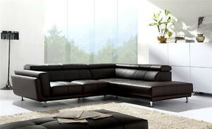 Modern Black or White Small Genuine Leather Sectional