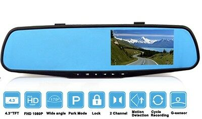 "170 Degree View Angle Full HD 1080P 4.3"" Dash Cam Rearview Mirror Car Camera DVR"