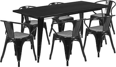 - 31.5'' x 63''Industrial Black Metal Indoor Restaurant Table Set w/6 Arm Chairs