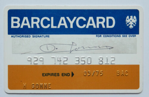 BARCLAYBANK BARCLAYCARD VINTAGE EXPIRED CREDIT CARD FOR COLLECTORS 1970