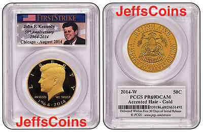 Click now to see the BUY IT NOW Price! 2014 W GOLD KENNEDY HALF 50 ANNIVERSARY PCGS PROOF 69 CHICAGO ANA RELEASEBOX