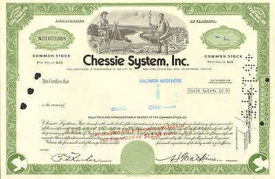 Chessie System now CSX Richmond Jacksonville railroad stock certificate share