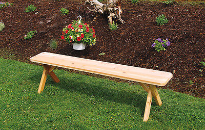 Outdoor 4 Foot Cross Leg Picnic BENCH ONLY!! Walnut Stain Amish Made USA