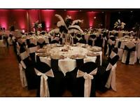 BLACK OR WHITE CHAIR COVER HIRE 50P EACH ADD SASH FOR 50P.