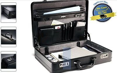 Samsonite Genuine Leather Mens Men Black Briefcase Expandable Laptop Bag Attache