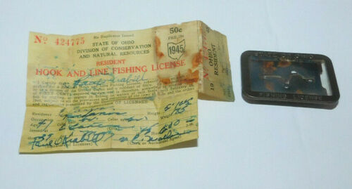 VINTAGE 1945 STATE OF OHIO HOOK AND LINE FISHING LICENSE AND PIN HOLDER