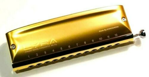 GOLD Kongsheng Lyra 12 Hole Pro Chromatic Harmonica -US Dealer- Ships Fast