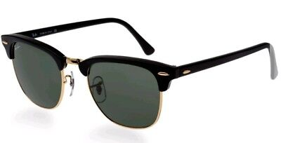 Ray-Ban CLUBMASTER Black Sunglasses - Green Lens 51mm (RB3016W036551)
