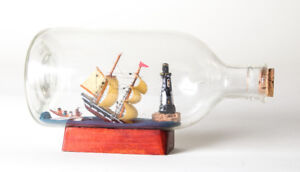 Ship In A Bottle - Shipwreck Lighthouse Rower