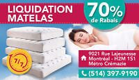 LIQUIDATION MATELAS  DE QUALITE 70% !!