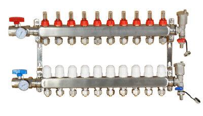10-branch Pex Radiant Geothermal Water Divider Floor Heating Manifold Set