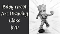 """I am Groot"" Draw Baby Groot Art Class"