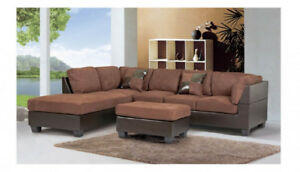 SOFA SECTIONNEL CUIR - MICROFIBRE - CHAMOIS - STOCK LIMITE