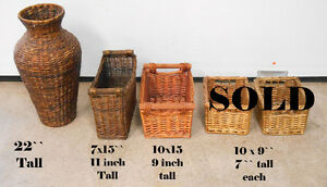 wicker, wine holder, baskets, wrought iron stands