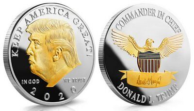 Donald J  Trump 2020 Keep America Great  Two Tone Challenge Coin Re Elect Trump