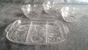 Raised Design Crystal Platter Bowls