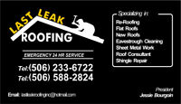 £ Last Leak Roofing Inc £ - Family Owned ° 25 years experience