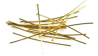 100 Thin Gold Plated Head Pins 22 Gauge 2 Inch