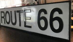 NEW LARGE VINTAGE LOOKING ROUTE 66 CAR BIKE SIGN DECOR