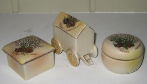 3 pieces of Carlton Ware Lucky White Heather Crested China