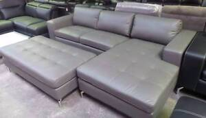 CHAISE LOUNGE WITH LARGE FOOTSTOOL IN GREY COLOUR CHROME LEGS Thebarton West Torrens Area Preview