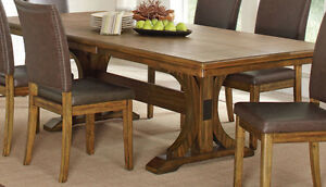 Butterfly leaf dining table with 6 leather chairs