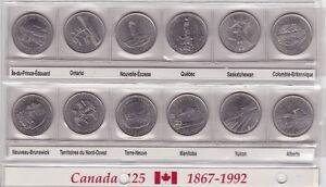 MONNAIE VOICI LA SERIE DE 25¢ DE 1992.....