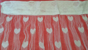 BRAND NEW HEART WHITE CURTAINS / HEART WHITE DRAPES