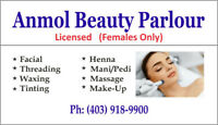 Full Body Wax $59, Facial $25, Massage $39 (FEMALE ONLY