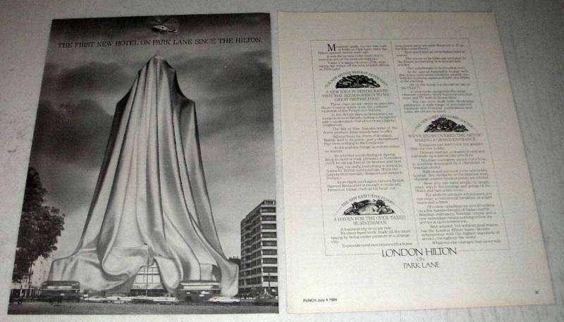 1984 London Hilton Hotel Ad - On Park Lane