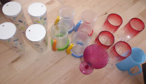 Large lot of plastic insulated cups $ 5, ice cube cooler $ 3