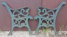 Pair Of Full Size Green Cast Iron Garden Bench Ends With Fleur-De-Lis Design