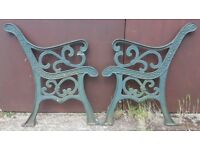 Pair Of Full Size Green Cast Iron Garden Bench Ends With Fleur-De-Lis Design